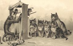Monkey entertaining cats with Punch and Judy puppet show - old postcard