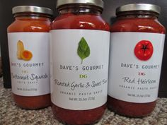Dave's Gourmet Review: Dave's Gourmet recently gave us the opportunity to try out three of their pasta sauces.  We are always excited for any excuse to eat pasta, so we were happy to have these sauces to try out and review.  These sauces are high quality, and I love the simple look of the labels.
