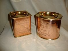 Vintage Copper Brass Coffee and Tea Canisters Cannisters Tin Tins Set Pair Copper Canisters, Vintage Canisters, Tea Canisters, Tea Tins, Copper Utensils, Copper Pots, Copper Kitchen, Kitchen Ware, Kitchen Dining
