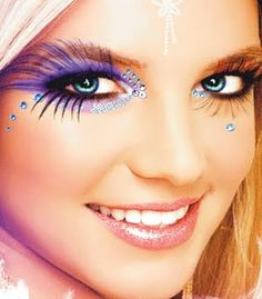 Britney Spears' Purple Flare Look with Crystals.