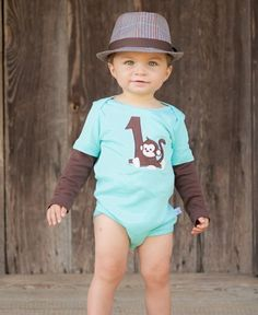 RuggedButts Boys First Birthday Long Sleeve One-Piece / This will be a moment you never forget, now you have the perfect outfit to mark the occasion! With the number one on the front, a cute applique monkey, and Birthday Boy embroidered on the rear, he will be ready for his first birthday pictures and party! / RuggedButts.com