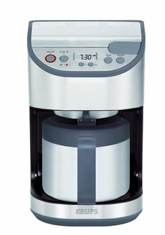 KRUPS Precision Programmable Thermal Carafe Coffee Maker Machine with Stainless Steel Housing, Silver ** Awesome product. Click the image : Coffee Maker Coffee Making Machine, Coffee Machines, Coffee Maker Reviews, Coffee Store, Coffee Accessories, Water Heating, Steel House, Coffee Filters, Best Coffee