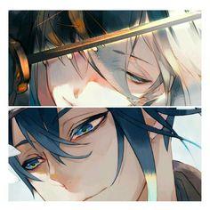 Mikazuki and kogitsunemaru Anime Oc, Anime Eyes, Anime Manga, Anime Girl Hot, Hot Anime Guys, Touken Ranbu Mikazuki, Handsome Anime Guys, Manga Boy, Anime Characters