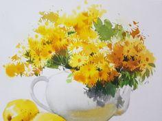 2017수업시연중에~~ : 네이버 블로그 Watercolor Artists, Watercolor And Ink, Watercolor Paintings, Korean Painting, Painting For Kids, Watercolor Sunflower, Watercolor Flowers, All Flowers, Pretty Flowers