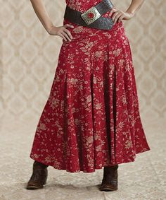 Take a look at this Red Vine Rose Textured Maxi Skirt - Women by Rancho Estancia on #zulily today! $25 !!
