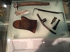 Medieval woodworking tools 15th and 16th century. Axe 11th century. Glove 15th century. Museum of London.