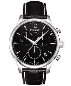 Tissot Watch, Men's Swiss Chronograph Tradition Black Leather Strap T0636171605700 - Men's Watches - Jewelry & Watches - Macy's