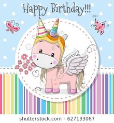 Greeting card Cute Cartoon Unicorn with a flower