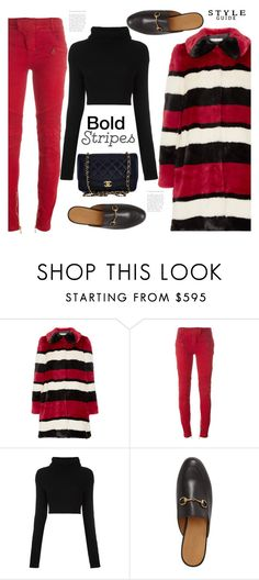 """A Look to get you Noticed...Bold Stripes"" by hattie4palmerstone ❤ liked on Polyvore featuring Alice + Olivia, Balmain, Valentino, Gucci, Chanel and BoldStripes"