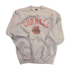 Cornell Team Vintage Sweatshirt (Heather Grey) ($45) ❤ liked on Polyvore featuring tops, hoodies, sweatshirts, sweaters, shirts, jumpers, logo shirts, heather grey crewneck sweatshirt, crewneck sweatshirt and crew shirt