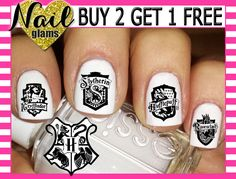 60 Nail Decals - Harry Potter Hogswart Crest Houses - Gryffindor Hufflepuff Ravenclaw Slytherin - Nail Art by ThePunkyPanda on Etsy