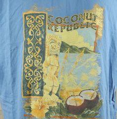 Coconut Republic Island Tiki Statue Torch Mens T Shirt XL Blue Hibiscus Flower | eBay