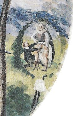 Detail of design for adjacent shooting-target of Herzog Johann Ernst (1610). Here the covering tree-top -- a hinged paper flap -- is missing, revealing the erotic encounter between a woman who has pulled up her skirt and a kneeling man who fondles her intimately