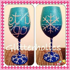 I am in LOVE with this wine glass. #Letitgo #Frozen #Disney