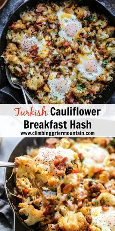Turkish Cauliflower Breakfast Hash is a low-carb, delicious dish to whip up during the week or weekend! Turkish Cauliflower Breakfast Hash is a low-carb, delicious dish to whip up during the week or weekend! Healthy Eating Tips, Healthy Breakfast Recipes, Clean Eating Snacks, Healthy Recipes, Healthy Food, Breakfast Hotel, Breakfast Hash, Breakfast Ideas, Low Carb Recipes