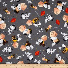 Peanuts Good Friends Charlie Brown & Snoopy Toss Grey from @fabricdotcom  Designed by Peanuts Worldwide and licensed to Quilting Treasures, this cotton print fabric features your favorite Peanuts characters and is perfect for quilting, apparel and home decor accents. Not intended for commercial use. Colors include black, white, brown, dark brown, yellow, mustard, nude, coral, orange and shades of grey.
