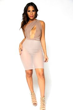 Sexy Taupe Crossed Shoulder Bodysuit With Sheer Midi Skirt