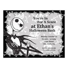 Official Disney Product. Jack Skellington Nightmare Before Christmas Halloween Party Custom Announcement Invite Invitation template