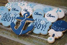 Ahoy its a boy baby shower cookies with anchors, wafer paper details on custom decorated sugar cookies with royal icing. Personalized. Made in Indialantic Florida