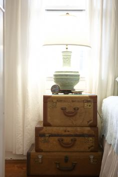 suitcases cottage decor