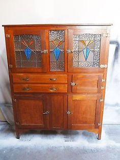 Vintage Retro Art-deco Leadlight Kitchen Dresser Cabinet/meat Safe