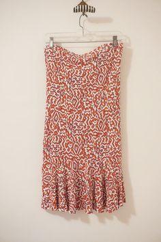 Diane Von Furstenberg Silk Red Cream Strapless Tube Dress Size 10 #DVF #TubeDress #Casual