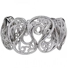18K white gold bangle Adorned with premium cut round diamonds totaling 5.4ct by Jye