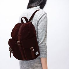 """Be able to pack your 13"""" macbook, sweatshirt(s), wallet, headphones, keys, metrocard, makeup, etc. all in this cute backpack. It looks great and is so surprisingly compact even when it's filled to the brim.   An eBags shoppable collage for November 2016 featuring Herschel Supply Co.."""