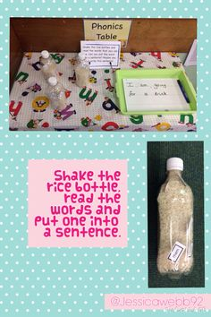 We could always adapt this to reading words. Shake the bottle, read the word and put it into a sentence. Spelling Activities, English Activities, Phonics Activities, Writing Activities, Phonics Games, Phonics Reading, Jolly Phonics, Communication And Language Eyfs, Communication Friendly Spaces
