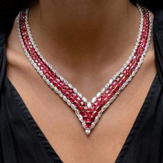 Going big for our final #rubytuesday of July. This very important V-shaped necklace features rare Burmese rubies outlined with white diamonds.