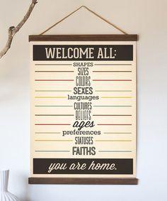 'Welcome All' Print & DIY Birch Frame Kit