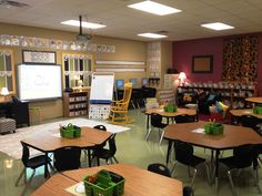 PTO 7: I love this classroom design. It promotes group work along with and organized setting with labels on the containers and walls. Also the cool colors promote a safe, fun environment. I also like how the teacher has carpet space in the front with a chair for reading time or technology activities.