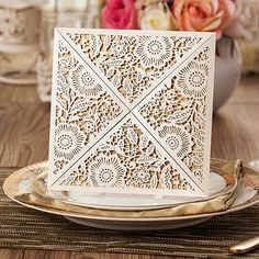 affordable pearl white floral laser cut wedding invitations EWWS017 as low as $2.09  