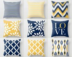 Throw Pillow Covers, Navy Yellow and White Decorative Pillows Throw Pillow Covers, Navy Yellow and White Decorative Pillows – HLB Home Designs - Mobilier de Salon Pillow Cover Design, Decorative Pillow Covers, Throw Pillow Covers, Yellow Pillow Covers, Blue Bedroom, Trendy Bedroom, Bedroom Decor, Master Bedroom, Navy Pillows