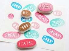 teacher's stamp. message hand carved hand lettered rubber stamp. good/ok/great/your're a star. card making/mark homework. choose one