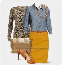 I think the mustard skirt and camel shoes really do it for me. Not sure how denim looks on my top half, but I'd be willing to give it a try. I could pass on the purse, but I like the metallic shine it brings to the outfit. Casual Outfits, Fashion Outfits, Womens Fashion, Casual Attire, Fashion 2017, Work Outfits, Mustard Skirt, Mustard Yellow, Mustard Pants