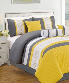 Look at this Yellow & Gray Leon Seven-Piece Comforter Set on #zulily today!