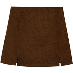 Blackfive Split Hem Natural Waist Mini Woolen Skirt (345 ARS) ❤ liked on Polyvore featuring skirts, mini skirts, bottoms, mini skirt, zipper skirt, short mini skirts, brown skirt and short skirts