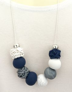 Navy Grey & White Polymer Clay Necklace