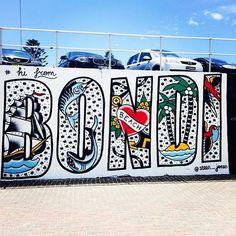Steen Jones Bondi Beach Australia, Skate Park, South Pacific, Urban Art, Summer Vibes, Palm Trees, Old School, Cool Art, Street Art