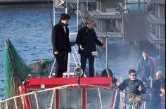 SHERLOCK (BBC) ~ Benedict Cumberbatch & Martin Freeman on set, on a boat, during Season 4 filming on July 13, 2016.
