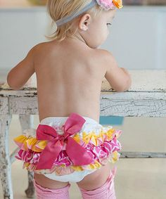 Loving this Pink & Yellow Wavy Fun Ruffle Diaper Cover - Infant on #zulily! #zulilyfinds