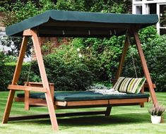 gorgeous green swing bed in the backyard with shade 29 Hanging Bed Design Ideas To Swing In The Good Times Outdoor Hanging Bed, Outdoor Beds, Hanging Beds, Outdoor Decor, Outdoor Swing With Canopy, Backyard Swings, Backyard Seating, Outdoor Seating, Bed Swings