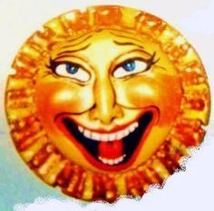 This is a laughing sun pin I make for various jewelry stores in sunny California and other sunny places.