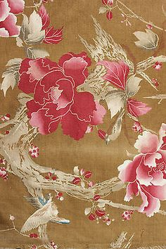 Antique-French-Japonisme-printed-cotton-fabric-c1900-RARE-curtain-drape