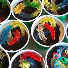 gummy worms and dirt pie cups