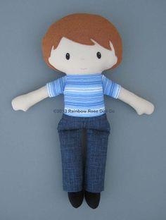 Cloth Doll Rag Doll PDF Pattern Blue Jean Boy by rainbowrosedollco, $12.00