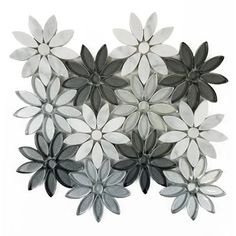 """Flower Fusion 4"""" x 4"""" Marble/Glass Tile in Gray/Silver"""