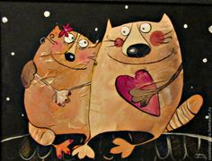 Купить Двое в городе. Это любоффф)) - разноцветный, любовь, нежность, пара, котики, рыжие коты