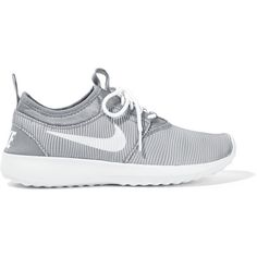 Nike Juvenate rubber and jersey sneakers ($100) ❤ liked on Polyvore featuring shoes, sneakers, grey, lightweight shoes, nike sneakers, grip trainer, gray sneakers and striped shoes